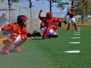 Every team needs plenty of catchers during spring training (Photo by Ed Wolfstein)