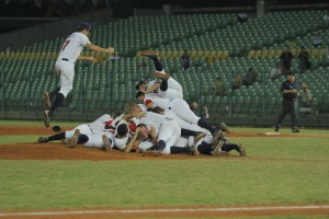 Celebratory dog pile by Team USA