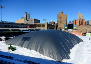 The Toledo Mud Hens pitched a tent of hot air in early March to melt roughly 14 inches of snow on Fifth Third Field.