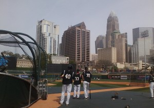 The Charlotte skyline frames BB&T Ballpark.