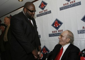 George Digby, right, enters the Red Sox hall of fame with Mo Vaughn (Brita Meng Outzen/Boston Red Sox)