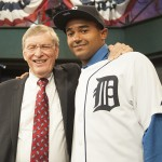 Tigers first-rounder Derek Hill poses with Bud Selig (Photo by Tomasso DeRosa)