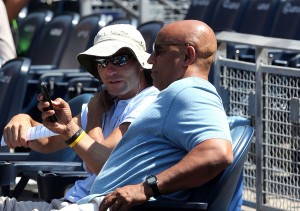 A.J. Preller, left, with Omar Minaya (Photo by Bill Mitchell).