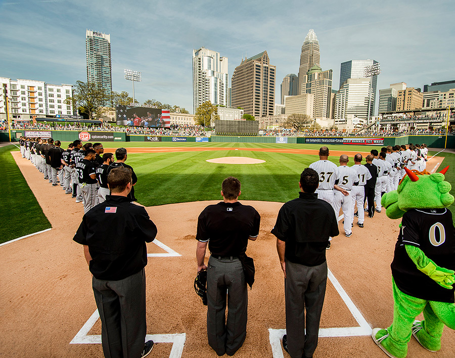 "A downtown skyline view sets the Charlotte Knights' BB&T Ballpark apart. ""The best minor league facility I have ever visited,"" an observer noted."