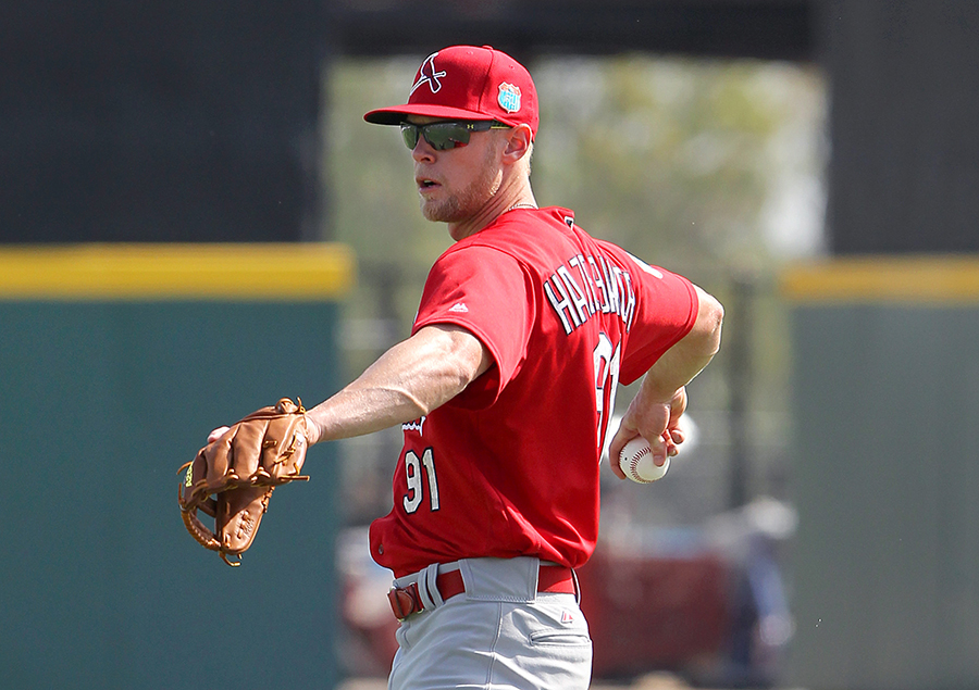 Speed and versatility may help Jeremy Hazelbaker stick in the majors after 751 minor league games (Photo by Cliff Welch)
