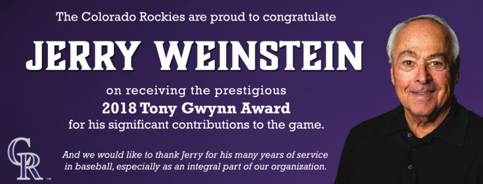 Colorado Rockies scout and coach Jerry Weinstein wins the 2018 Tony Gwynn Award