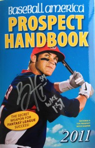 Bryce Harper Autographed Prospect Handbook Cover