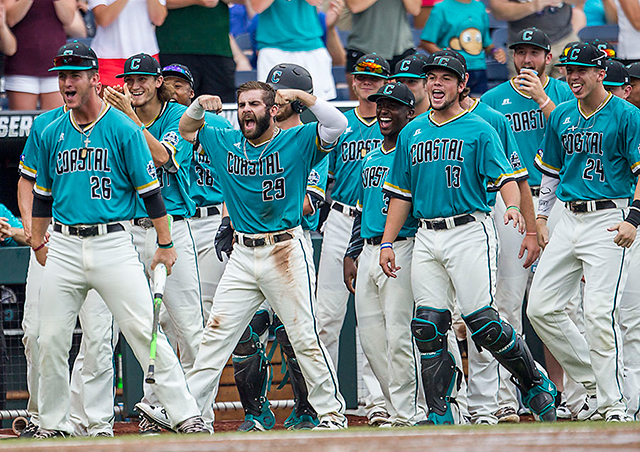 Coastal Carolina celebrates CWS final trip (Photo by Andrew Woolley)
